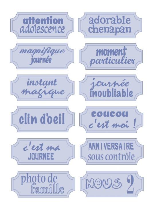 étiquettes bleues