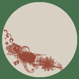 étiquette ronde beige-bordeau