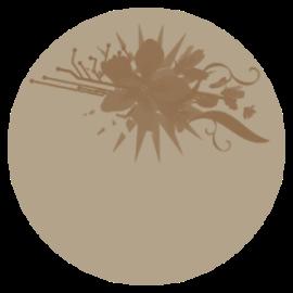 étiquette ronde beige-brune