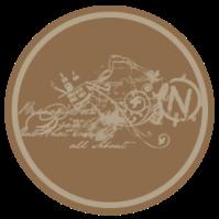 étiquette ronde brune écrite