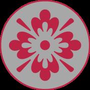 fleur rouge tag gris