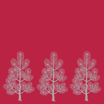 papier rouge sapins gris