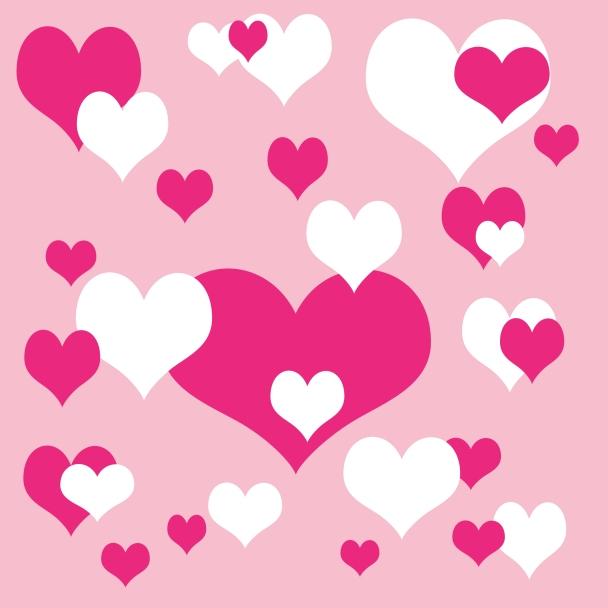 papier coeurs roses