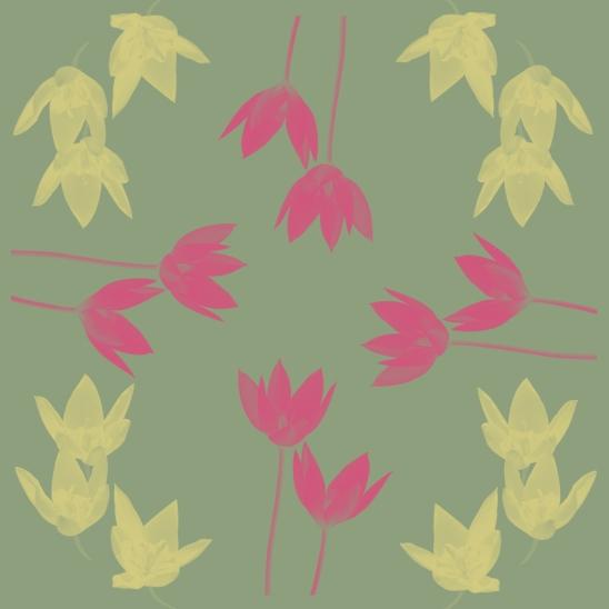 fleurs sur fond vert