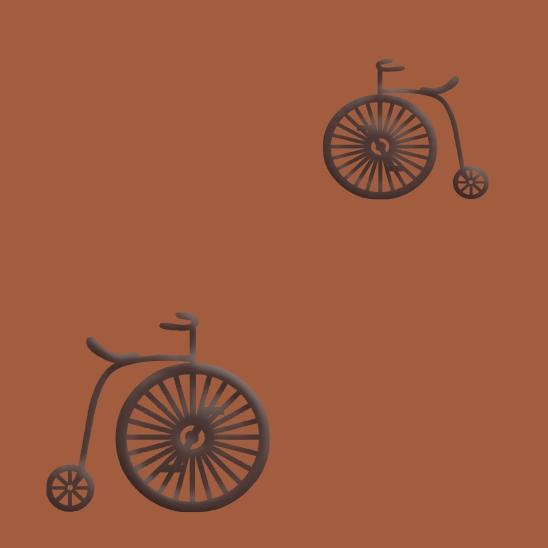 vélos brun sur fond tommettes