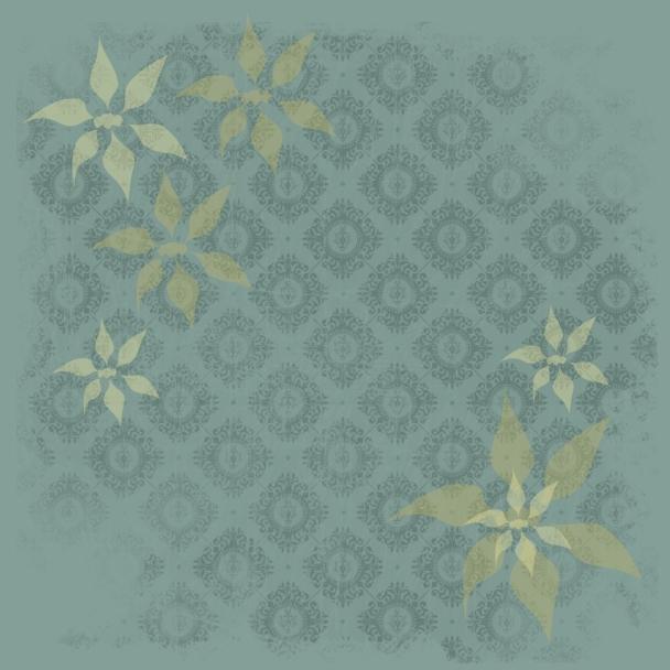 vert tapisserie et fleurs jaunes