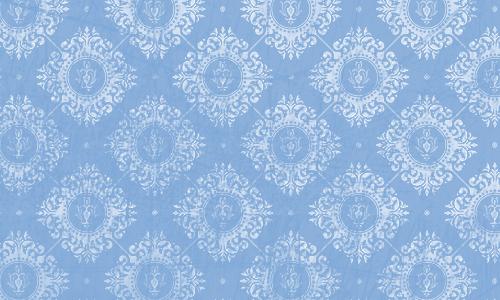 étiquette damas bleu blanc