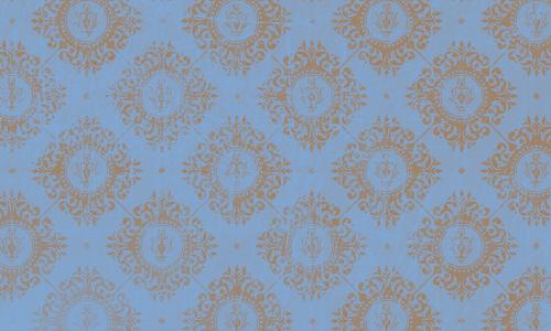 étiquette damas bleu brun
