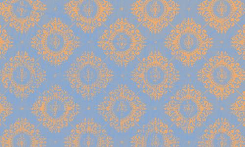 étiquette damas bleu orange