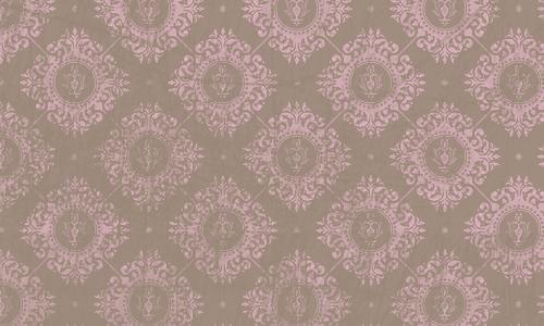 étiquette damas brun rose