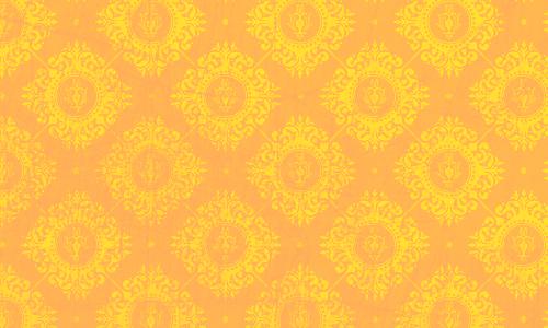 étiquette damas jaune orange