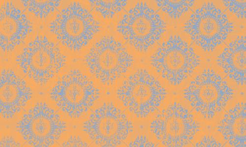 étiquette damas orange bleu