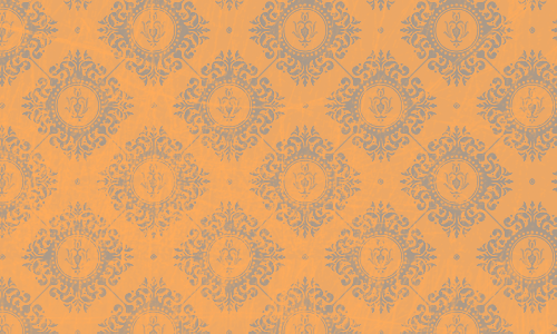 étiquette damas orange brun
