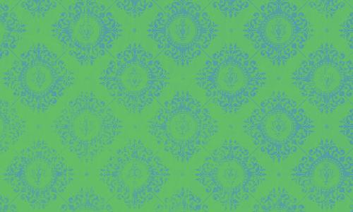 étiquette damas vert bleu