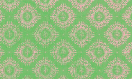 étiquette damas vert rose