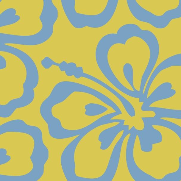 fleur bleue sur fond jaune
