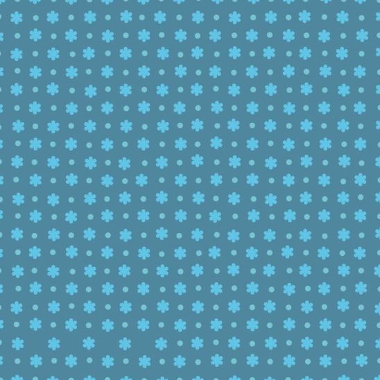 fleurs bleu azur et pois