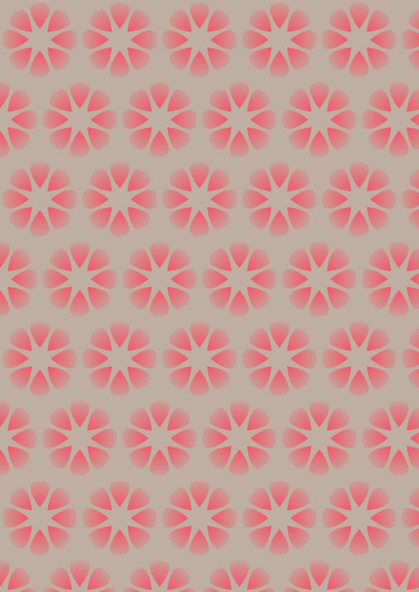 fleurs rouges sur fond beige