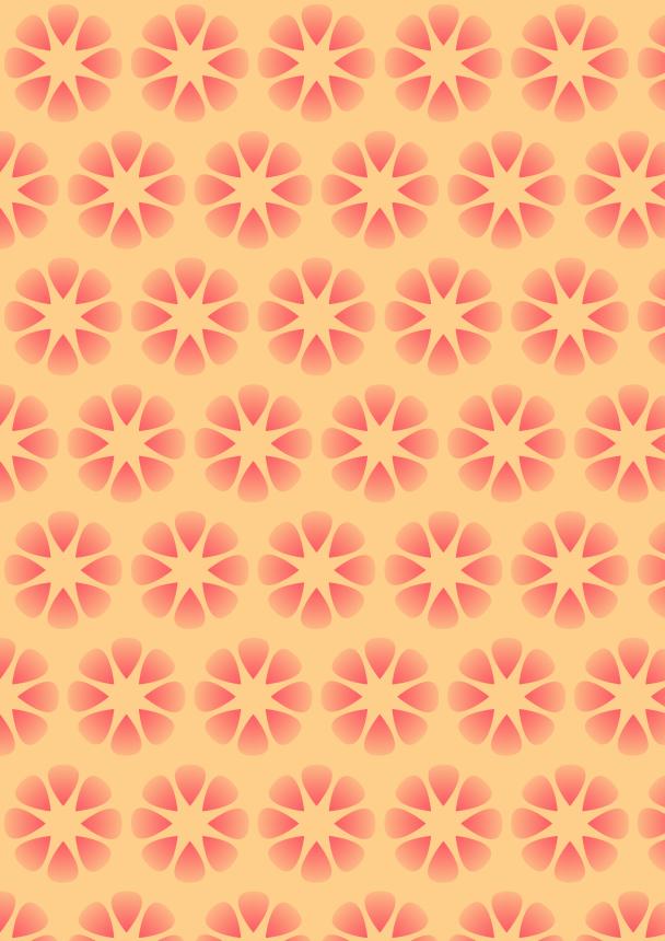 fleurs rouges sur fond jaune