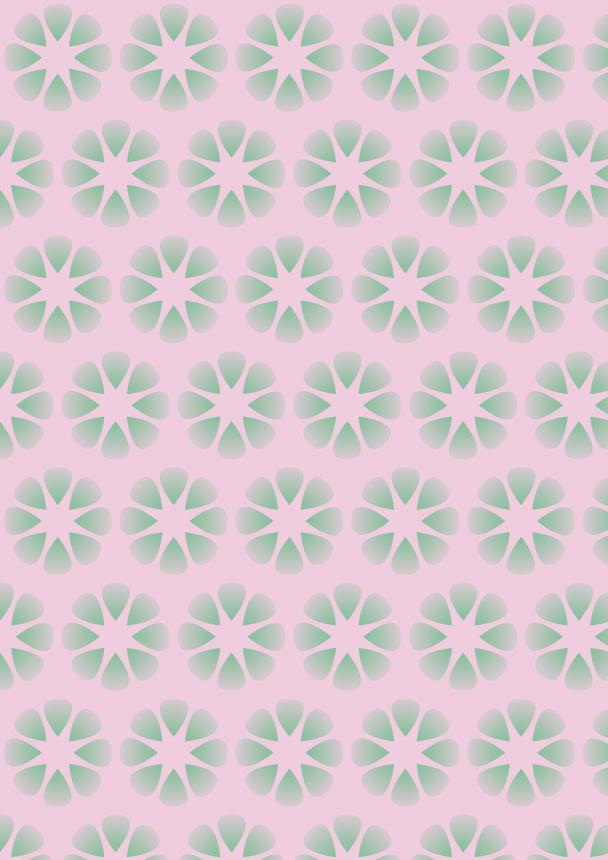 fleurs vertes sur fond rose