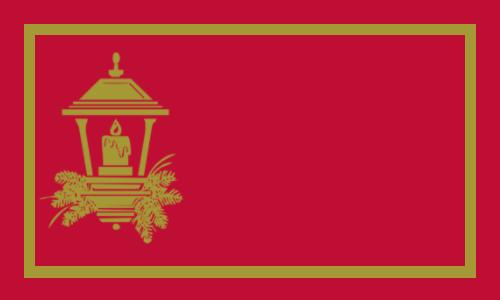 lanterne or sur rouge