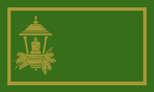 lanterne or sur vert