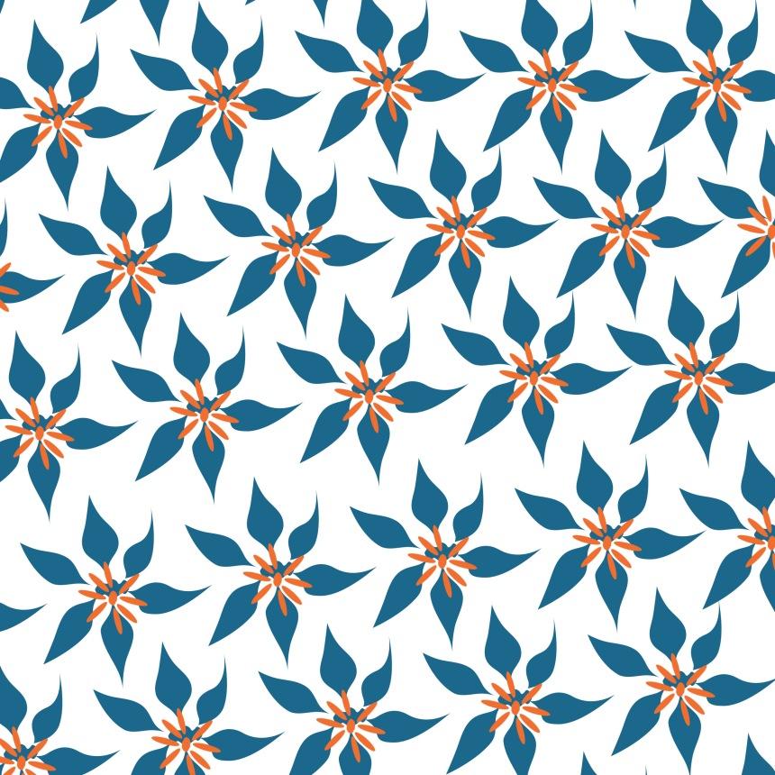 fleurs bleues sur blanc