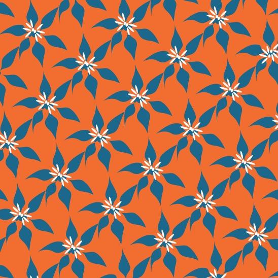 fleurs bleues sur orange