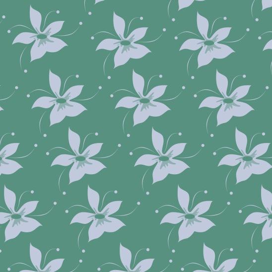 fleurs bleues sur vert