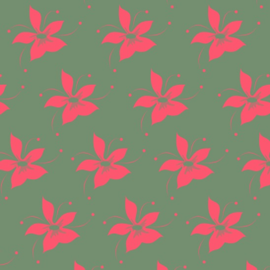 fleurs fushia sur vert