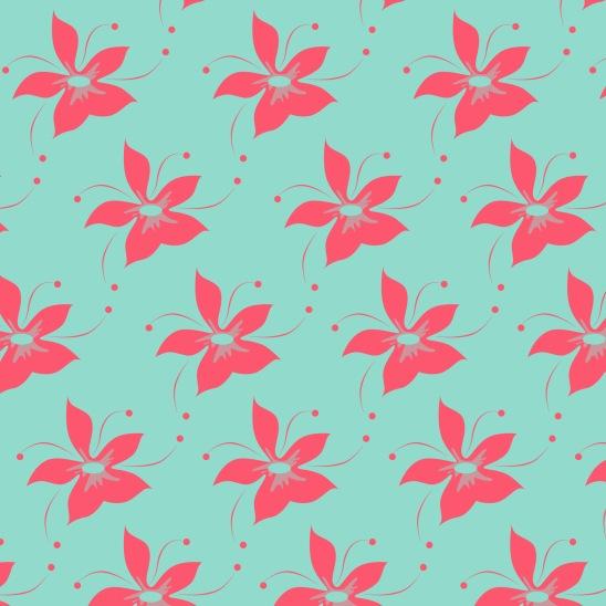 fleurs fushias sur turquoise