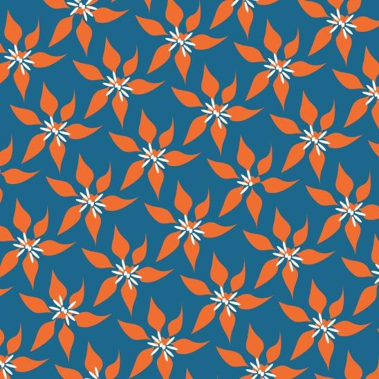 fleurs oranges sur bleu roi