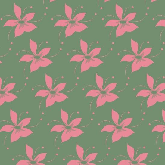fleurs roses sur vert