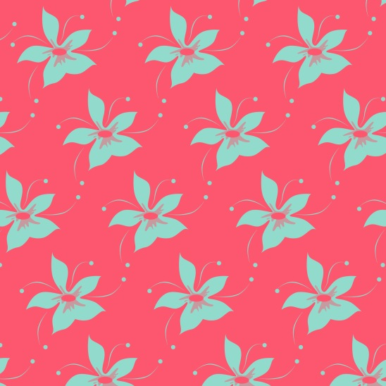 fleurs turquoise sur fushia