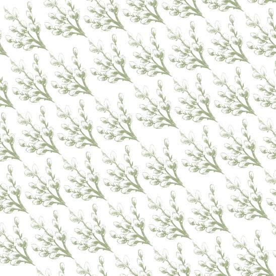 fleurs vertes sur blanc Paques