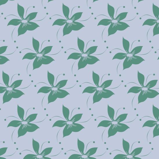 fleurs vertes sur bleu