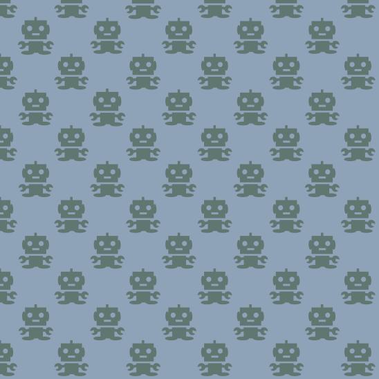 robots verts sur bleu