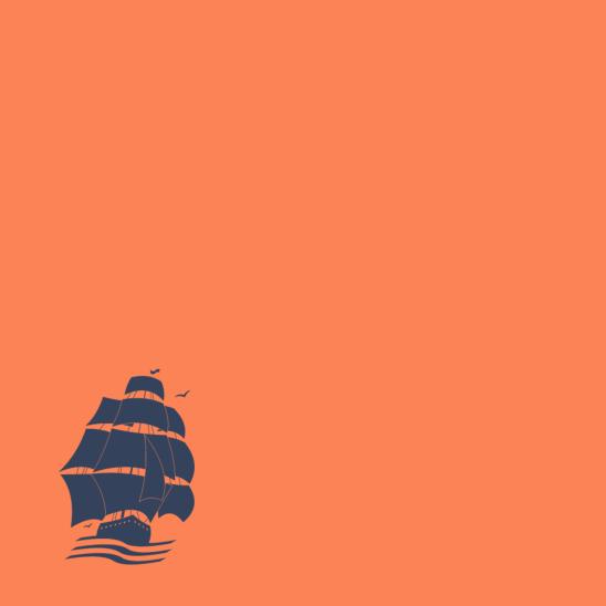 bateau bleu sur orange