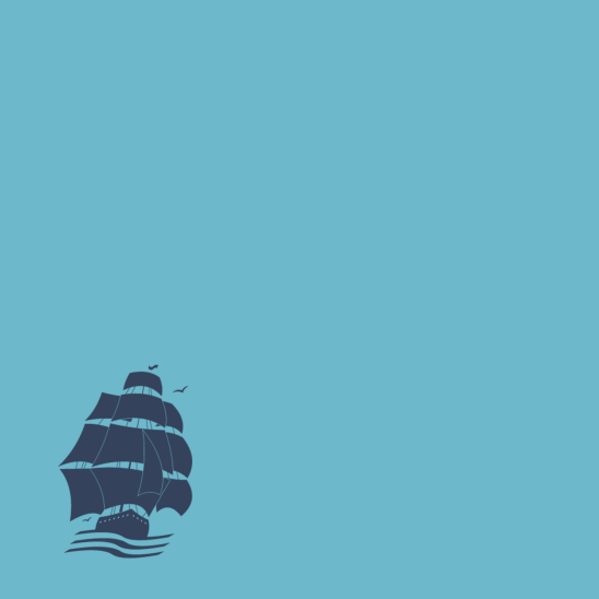 bateau pirate bleu sur turquoise