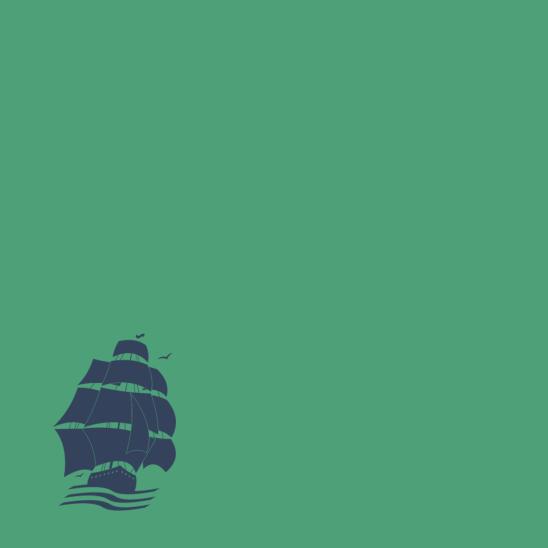 bateau pirate bleu sur vert tendre
