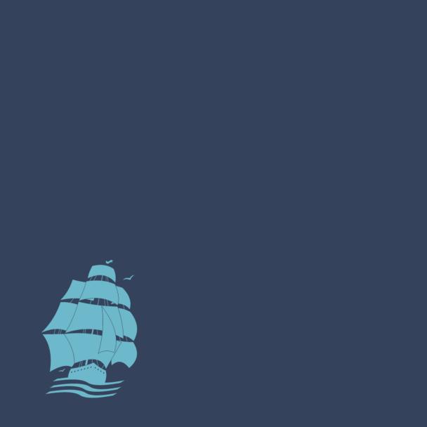 bateau pirate turquoise sur bleu marine