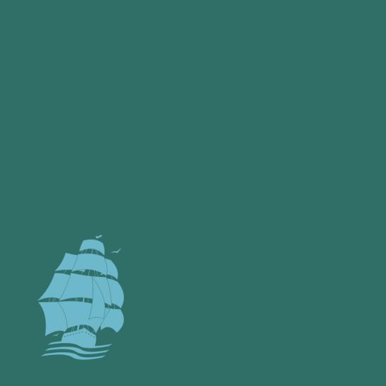 bateau pirate turquoise sur vert