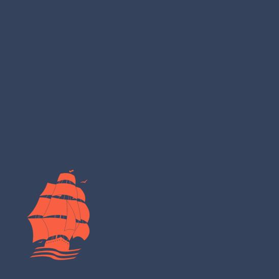 bateau rouge sur bleu
