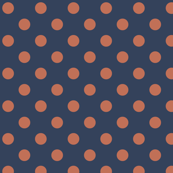 pois orange sur bleu