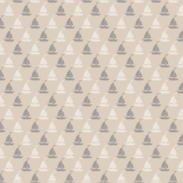 voiliers crème et gris sur beige