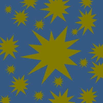 étoiles dorées sur bleu