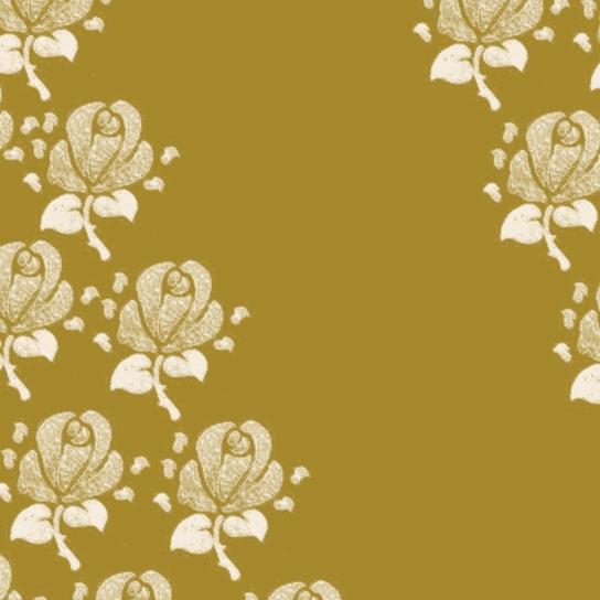 fleurs blanches sur doré