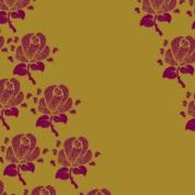 fleurs bordeau sur doré