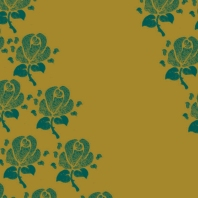 fleurs vertes sur doré