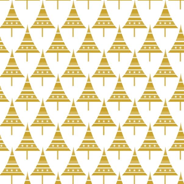 sapins pointus dorés sur blanc